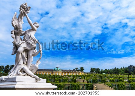 POTSDAM, GERMANY-JUNE 04, 2014: Royal Palace Sanssouci is the former summer palace of Frederick the Great, King of Prussia, in Potsdam, near Berlin. - stock photo