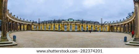 POTSDAM, GERMANY, MARCH 11, 2015: sanssouci palace is one of the dominants of potsdam and it is surrounded by huge park and several fountains. - stock photo