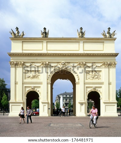 POTSDAM, GERMANY - MAY 3: Brandenburg Gate of Potsdam on May 3, 2009. This one older than the famous Brandenburg Gate in Berlin