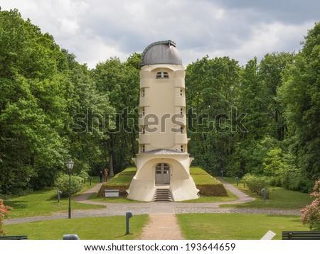 POTSDAM, GERMANY - MAY 10, 2014: The Einstein Turm astrophysical observatory was designed by architect Erich Mendelsohn in 1917 for Albert Einstein to validate his Relativity Theory