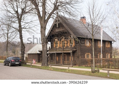 POTSDAM, MARCH 10: House on the Russian Colony Alexandrowka in Potsdam, Brandenburg, near Berlin on March 10, 2016. Part of the Potsdam cultural landscape, it makes part of the UNESCO World Heritage.