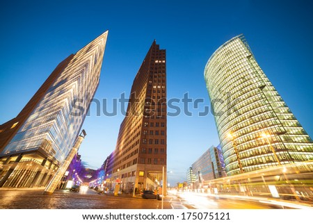 potsdamer platz in berlin in evening - stock photo