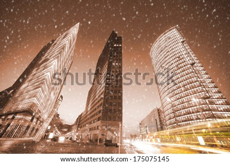 potsdamer platz in berlin in winter - stock photo
