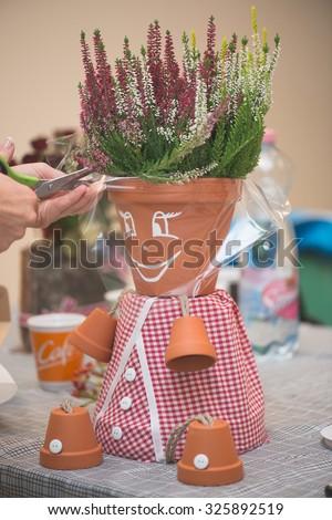potsherd doll, creative DIY work - stock photo