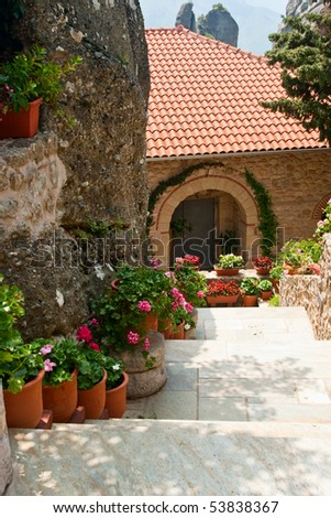 Potted  flowers along the stairs at Greek monastery