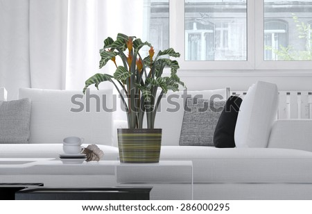 Potted plant standing on a low coffee table in a living room interior furnished with a comfortable white lounge suite below large windows. 3d Rendering