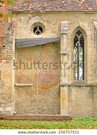POTTENDORF, AUSTRIA - 15  October 2014: A wall of the chapel of the castle in Pottendorf, which was abandoned after World War II. The building is currently being renovated. - stock photo