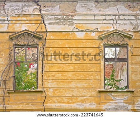 POTTENDORF, AUSTRIA - 12  October 2014: Windows  of the castle in Pottendorf, which was abandoned after World War II. The building is currently being renovated. - stock photo