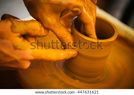 potter and the clay, pottery training - stock photo