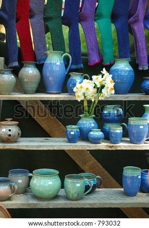Pottery and Socks - stock photo