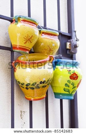 Pottery from Provence: typical pottery sold in Provence, France. - stock photo