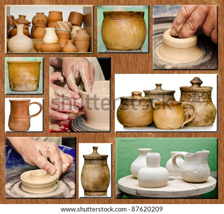 Pottery jars still life, product ready for sale - stock photo