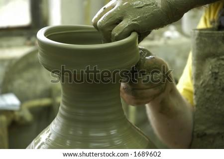 """Pottery """"Majolika"""", the making of - stock photo"""