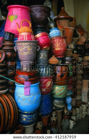 Pottery vases and urns in the bazaar market of , Meknes, Morocco - stock photo