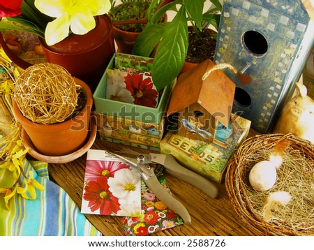 Potting Bench with seed packets ready for spring planting - stock photo