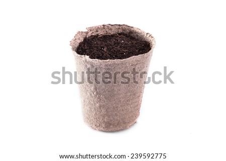 potting soil and pot - stock photo