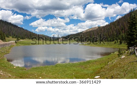Poudre Lake near the Continental Divide in Rocky Mountain Nataional Park - stock photo