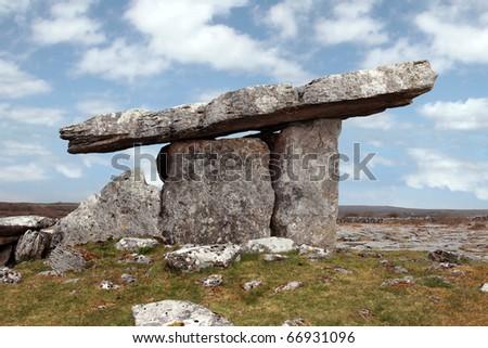 poulnabrone dolmen historic portal tomb in the burren in county clare, ireland - stock photo