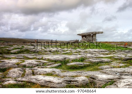 Poulnabrone dolmen, 5,000 year old portal tomb in the limestone Burren area of County Clare -  Ireland. - stock photo