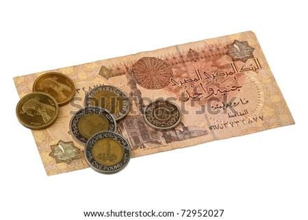Pound bill of Egypt over white - stock photo