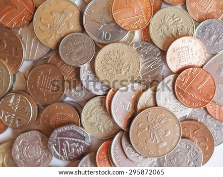 Pound coins  currency of the United Kingdom - stock photo
