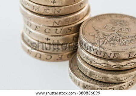 Pound coins the British currency - stock photo