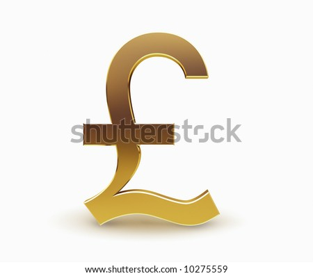 Pound currency symbol in gold on white background - stock photo