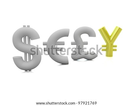 pound dollar euro and yen. concept of unique