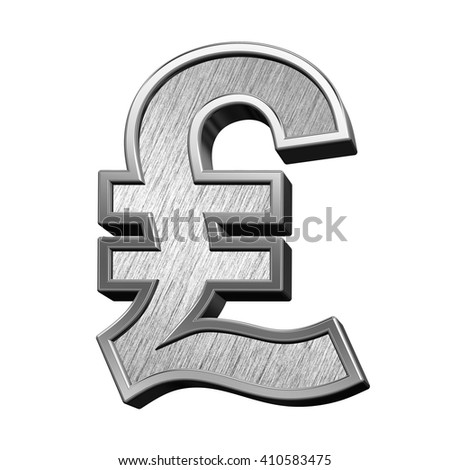 Pound sign from brushed stainless steel alphabet set, isolated on white. 3D illustration.