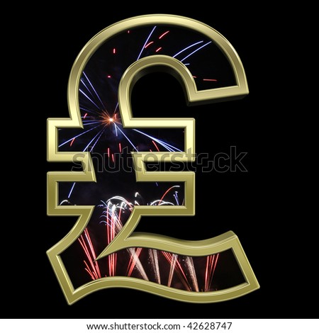Pound sign from firework with gold frame alphabet set, isolated on black. Computer generated 3D photo rendering.