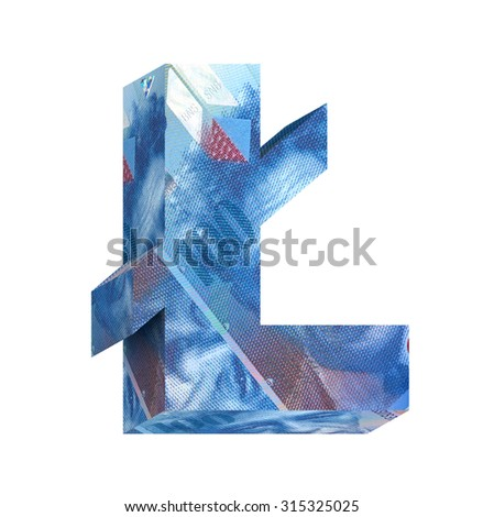 Pound sign from swiss franc bill alphabet set isolated over white. Computer generated 3D photo rendering. - stock photo