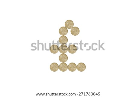 Pound Sign made out of one pound coins - stock photo