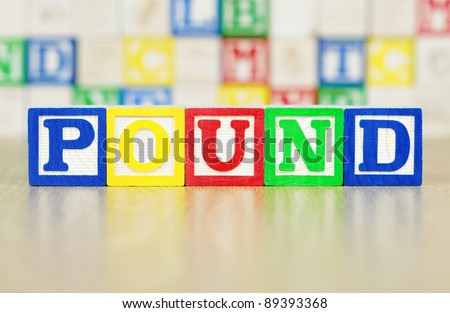 POUND Spelled Out in Alphabet Building Blocks - stock photo