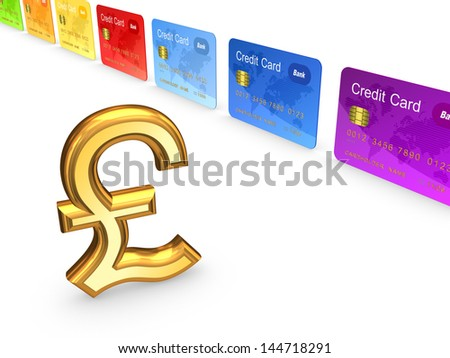 Pound sterling and colorful credit cards.Isolated on white.3d rendered. - stock photo