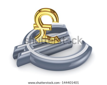 Pound sterling and euro.Isolated on white.3d rendered. - stock photo