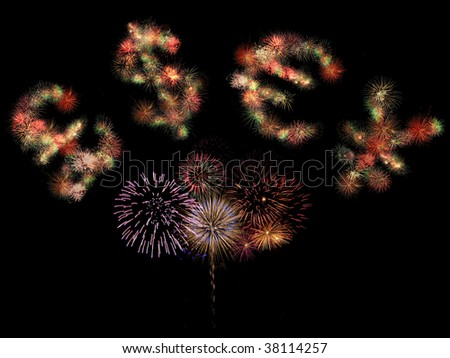 Pound sterling, dollar, euro and japanese yen symbols formed by fireworks on black background. - stock photo