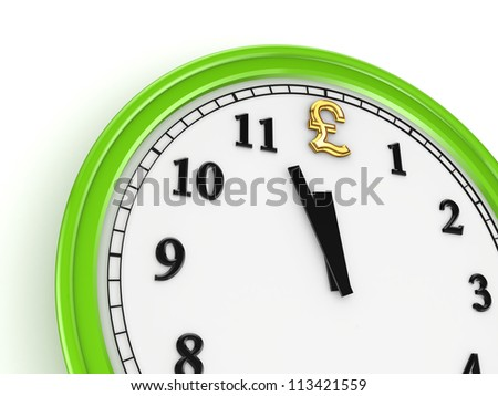 Pound sterling sign on a watch.Isolated on white background.3d rendered. - stock photo