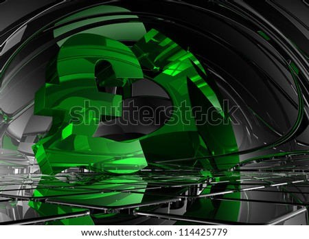 pound sterling symbol in abstract space - 3d illustration - stock photo