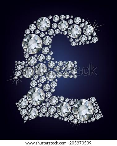 Pound symbol in diamonds - stock photo