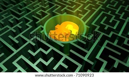Pound symbol in the maze - stock photo