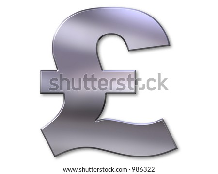 Pound symbol with silver bevel on white background