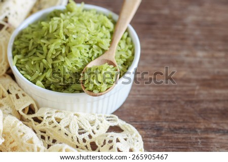 pounded unripe rice, green rice Thai style, serve on white plate