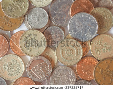 Pounds and pence - currency of the United Kingdom - stock photo
