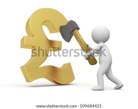 Pounds symbols/A people cut a Pounds symbols with a axe - stock photo