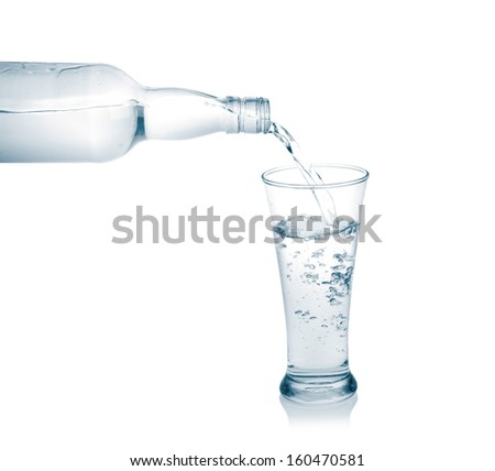 Pour into a glass isolated on a white background.