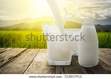 Pour the milk into a glass splash on wooden terrace with green meadow and mountain in the morning with the sunbeam.