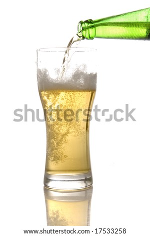 Poured Beer on white ground