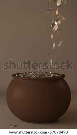Poured into the pot of gold coins - stock photo