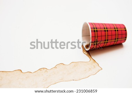 Poured out coffee. Coffee stains - stock photo