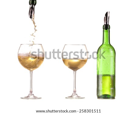 poured white wine on a white background - stock photo